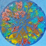 A painting of a mandala with an abstract design with yellow salmon red and blue.