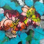 An abstract painting of blue black pink silver green and red with an outline of two Asiatic lilies.