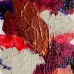 an abstract painting of white gold and hues of pink and purple